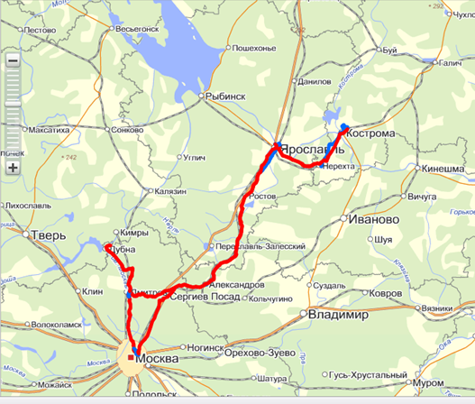 Карта маршрута: