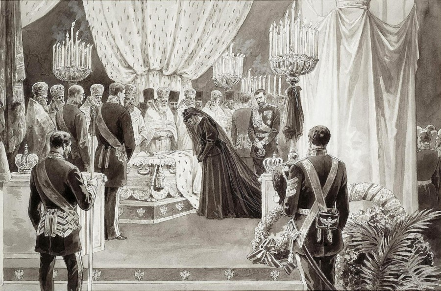 К.Борж. Похороны Александра 3 в Петропаловском соборе