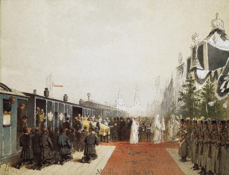 Михай фон Зичи.  Вынос гроба с телом Александра III (1895)