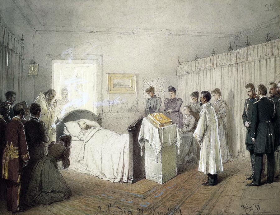 Панихида по Александру III в его спальне в Малом дворце в Ливадии