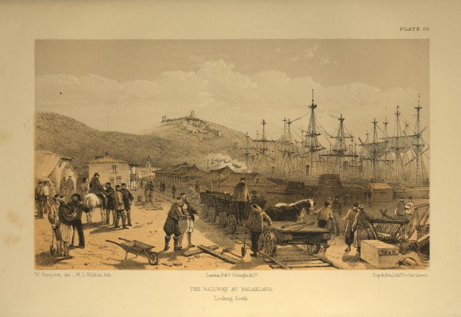 Железная дорога в Балаклаве (гравюра В.Симпсона, 1855 год)