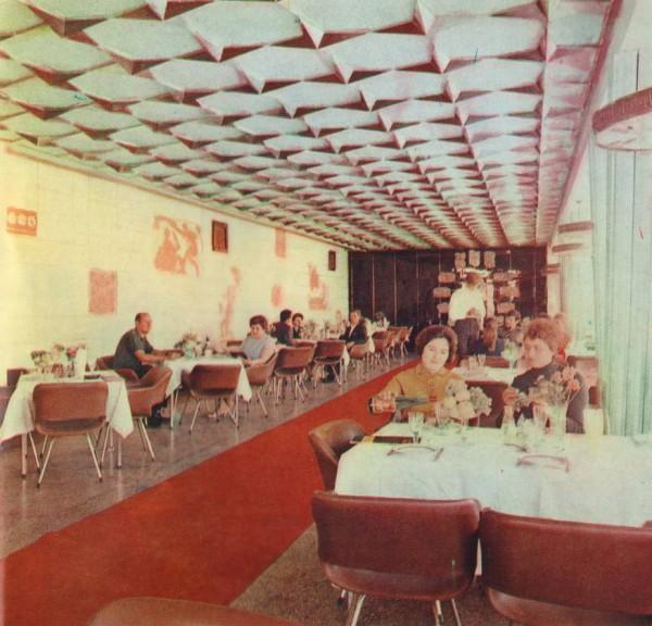 внутренний интерьер ресторана 70-е годы