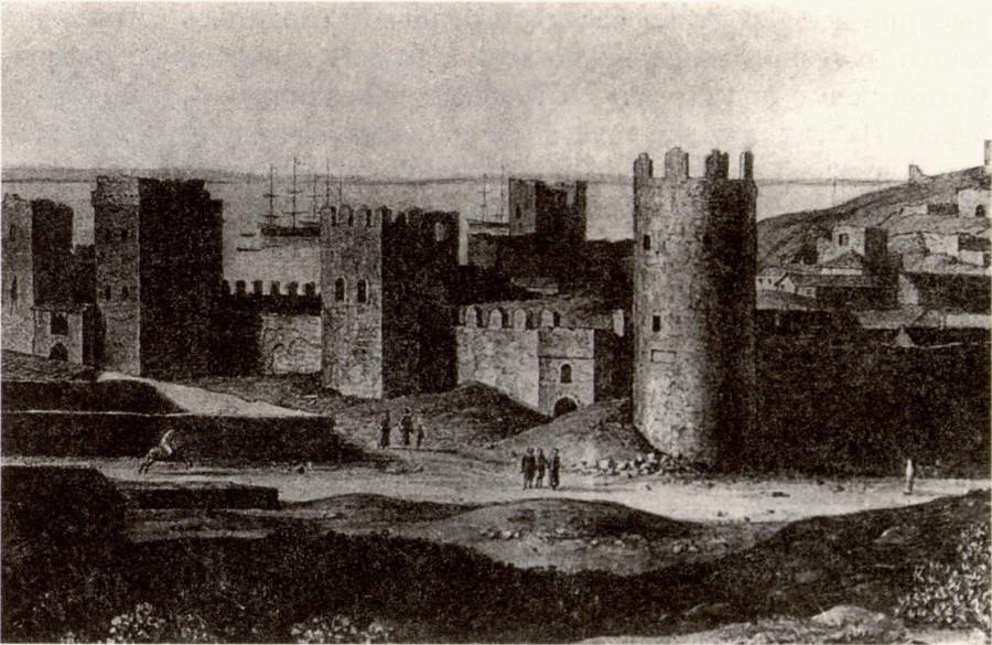 Западный фасад цитадели Кафы. Рисунок К. Кюгельхена. 1820