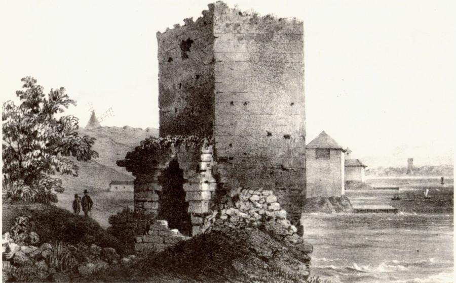 Доковая (Джустиниани) башня. Рисунок из альбома Е. де Вильнева (1853)