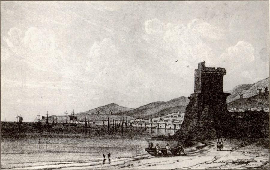 Морской фасад Феодосии с видом на башню Константина. Рисунок И. Айвазовского