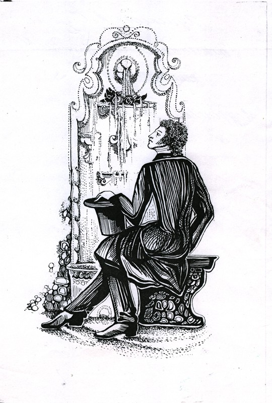 Пушкин у Бахчисараского фонтана (художник М.Кметь)