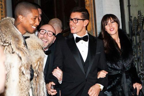 Pharrell Williams, Domenico Dolce, Stefano Gabbana and Monica Bellucci