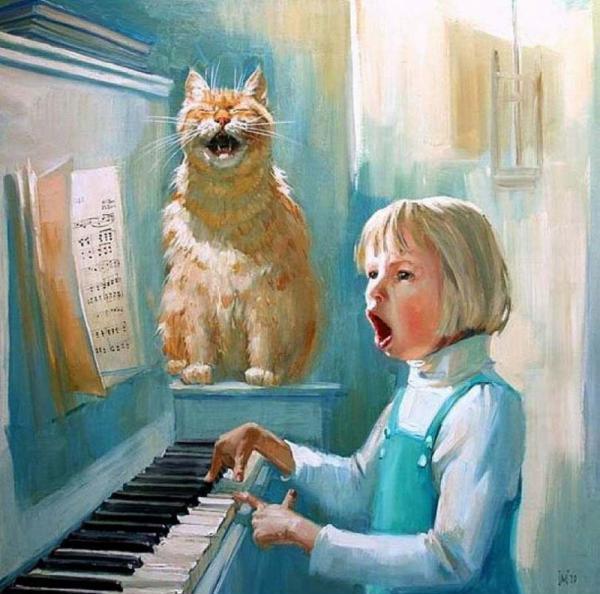 ребенок учится играть на фортепиано