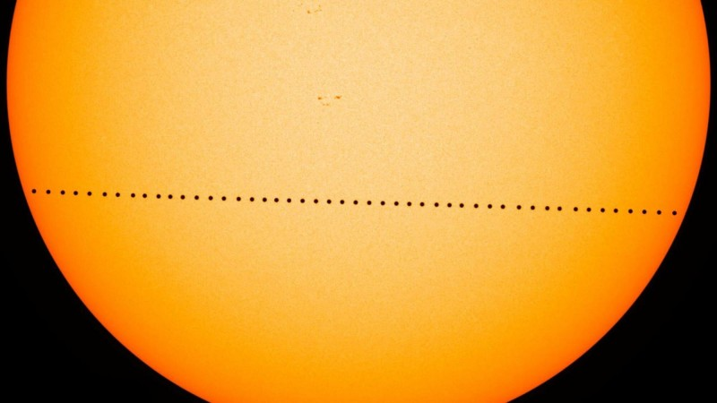 Траектория транзита Меркурия по диску Солнца