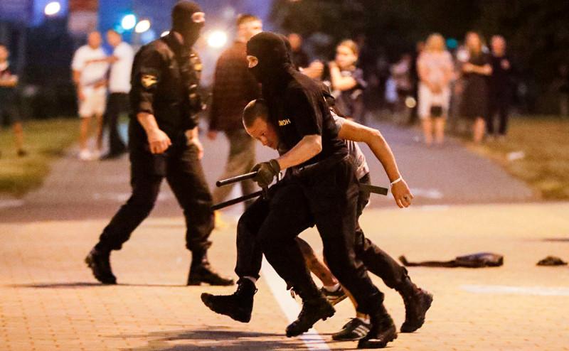 Минск в ночь на 10 августа 2020 года