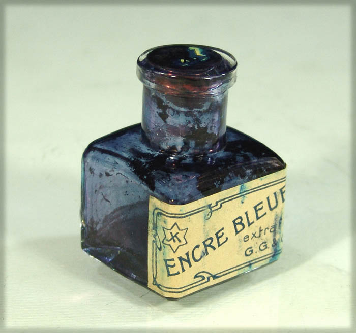 1900s JUDAICA SEAL & STAR GLASS INK WELL BOTTLE INKWELL2
