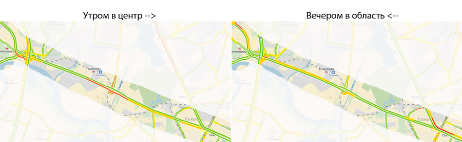 Волоколамское шоссе утром и вечером