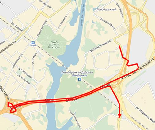 3. Разворот через Ленинградское 8 км