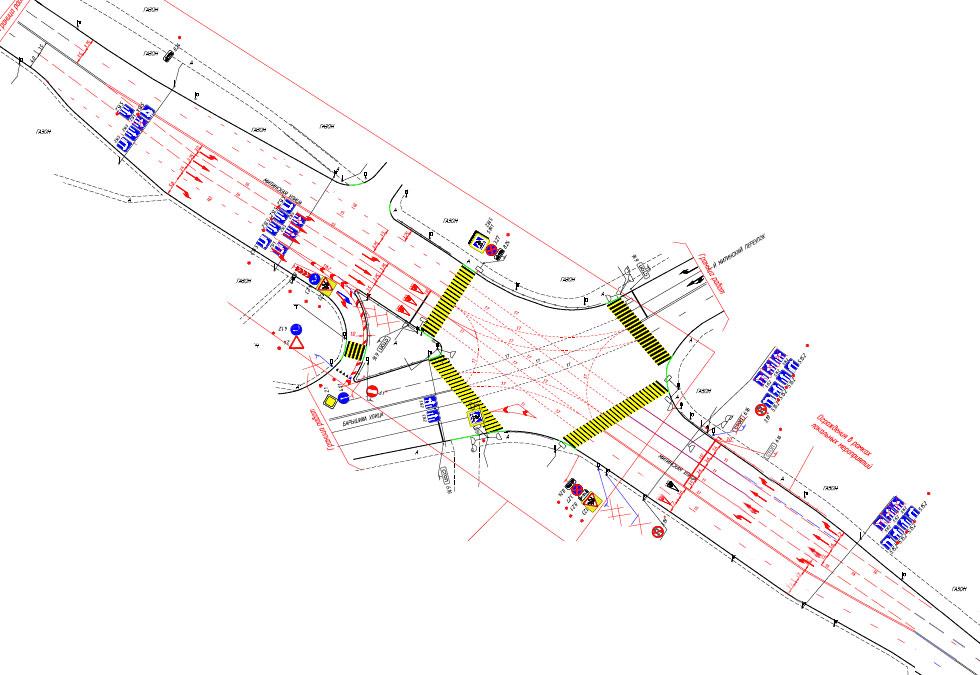 новый проект ОДД перекрестка Митинской ул., ул. Барышиха, 1-го Митинского пер.