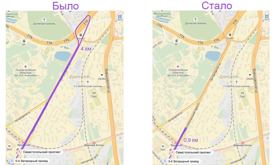 разворот на Севастопольском проспекте у МЦК из области в область