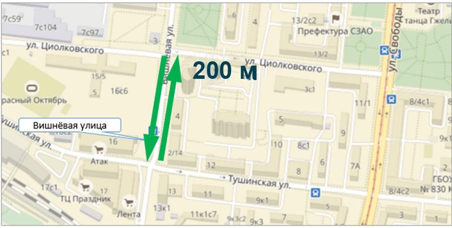 новый короткий маршрут с Тушинской улицы на улицу Циолковского