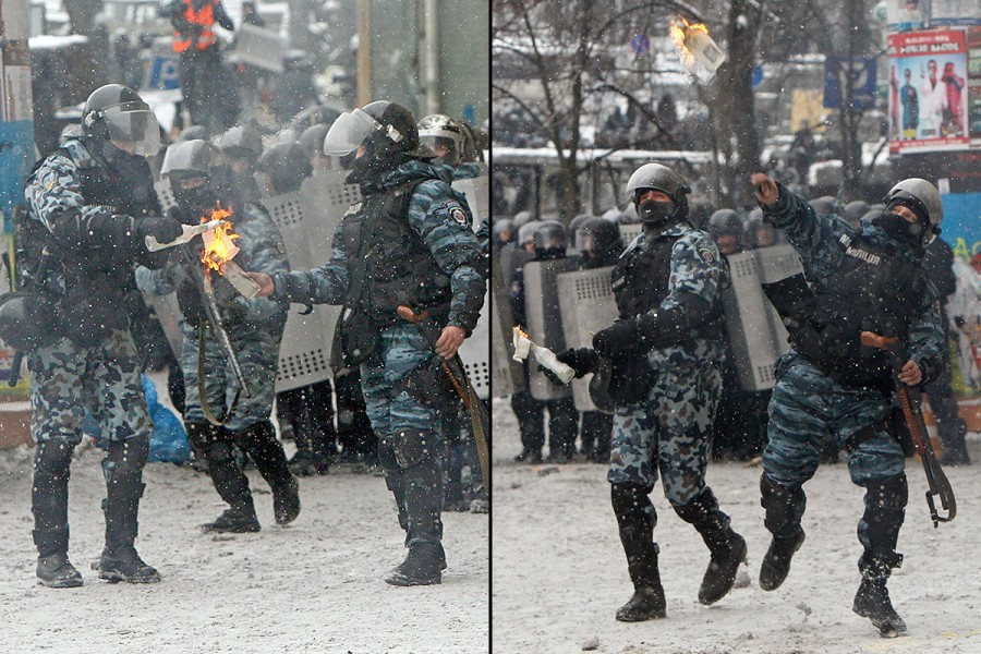 police-throw-petrol-bomb-ukraine
