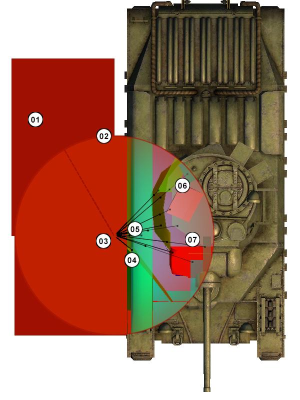Взрыв вне танка, попадание в