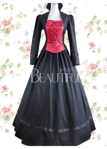 Black-And-Red-Long-Sleeves-Bandage-Lace-Cotton-Classic-Lolita-Dress-34025-1