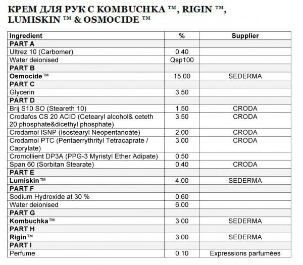 КРЕМ ДЛЯ РУК С KOMBUCHKA ™, RIGIN ™, LUMISKIN ™ & OSMOCIDE ™