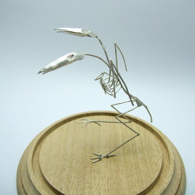Two headed silver bird skeleton