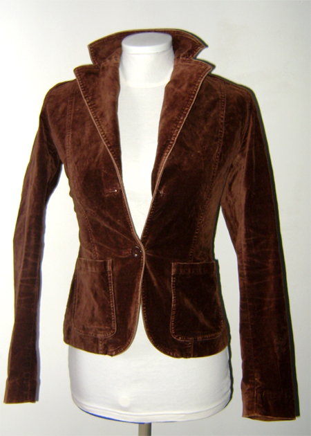 h&m brown velvet jacket