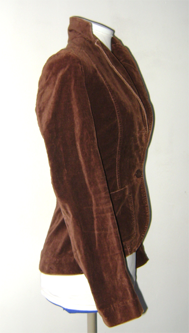 h&m brown velvet jacket side