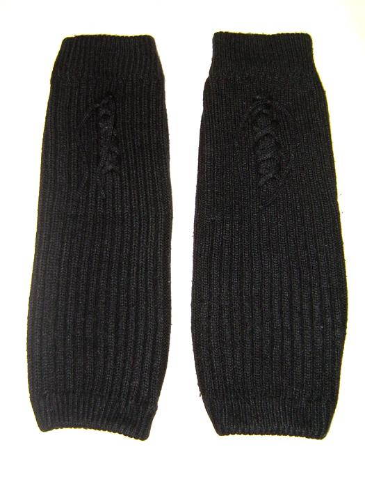 leg warmers knit blk tie