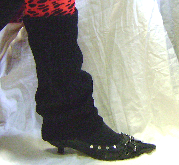 leg warmers knit blk tie on