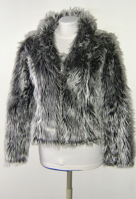 silver grey fur jacket on front