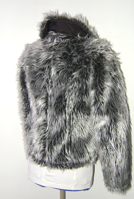 silver grey fur jacket on back