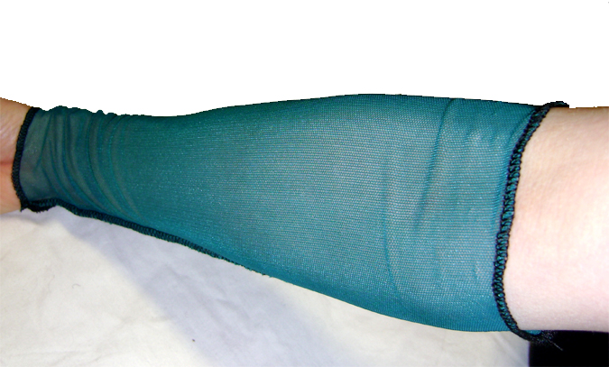 turquoise arm warmers mesh on
