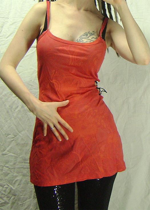 open side red orange pattern dress on