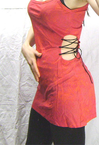 open side red orange pattern dress detail