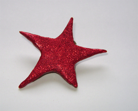 red glitter fimo hair star