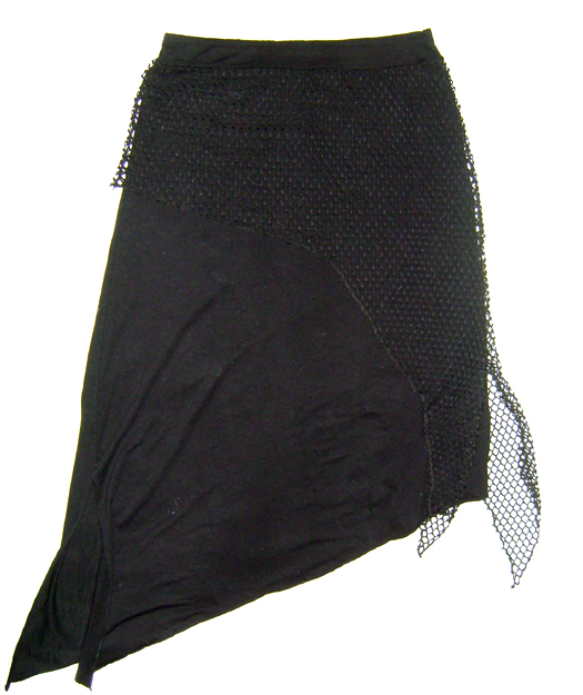 asym skirt with net overlayer