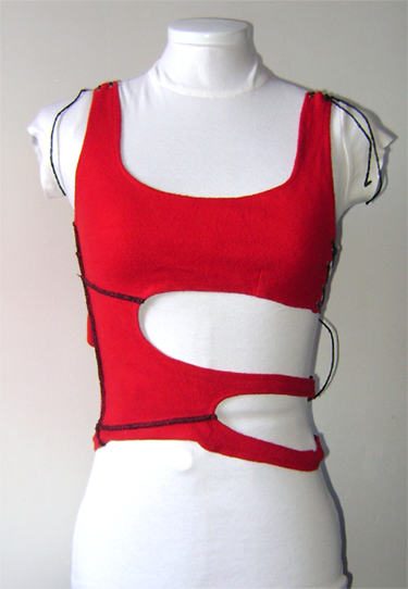 cut out red cotton top front