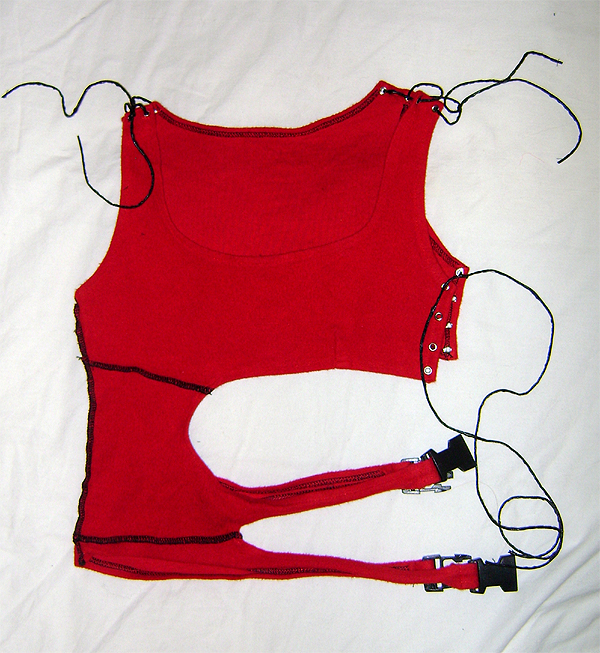 cut away top red cotton fleece
