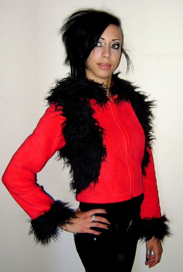 red & black fluffy hoodie nieska