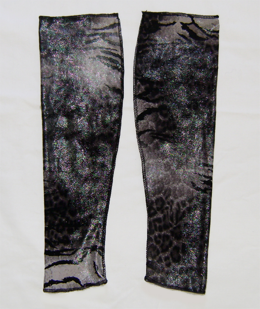 leo zebra wetlook arm warmers grey