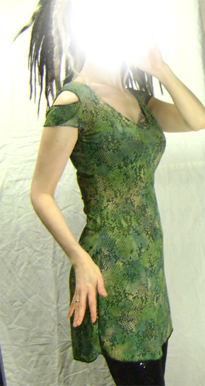 snake print open shoulder dress on