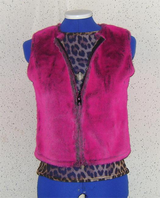 pink fur bodywarmer