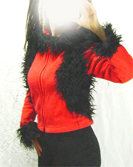 red black fleece hoodie on