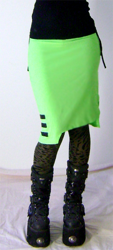 neon green cyber skirt on 3