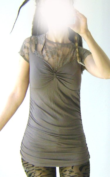 long top with lace grey on