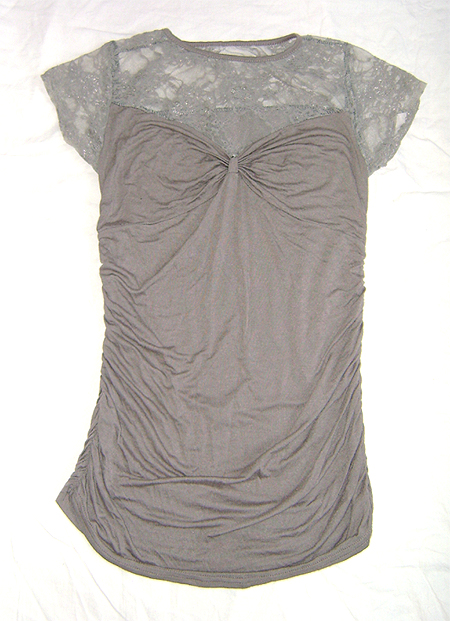 long top with lace grey