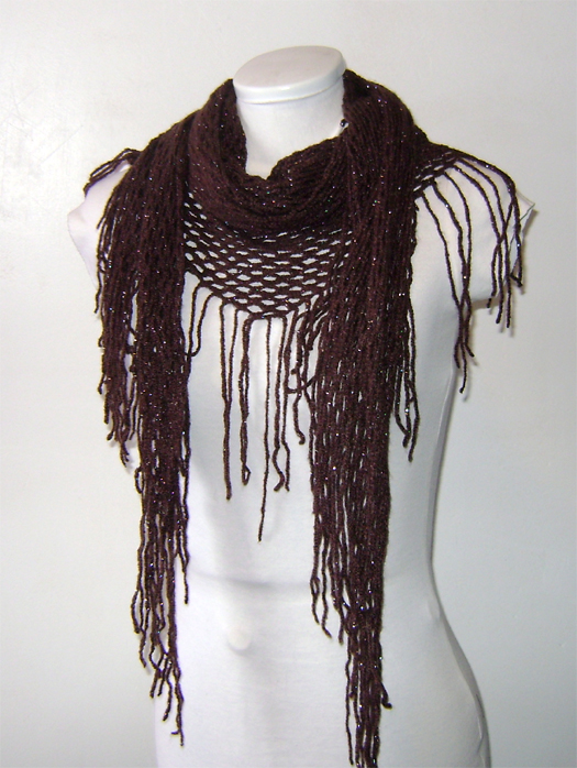 brown chrochet net scarf