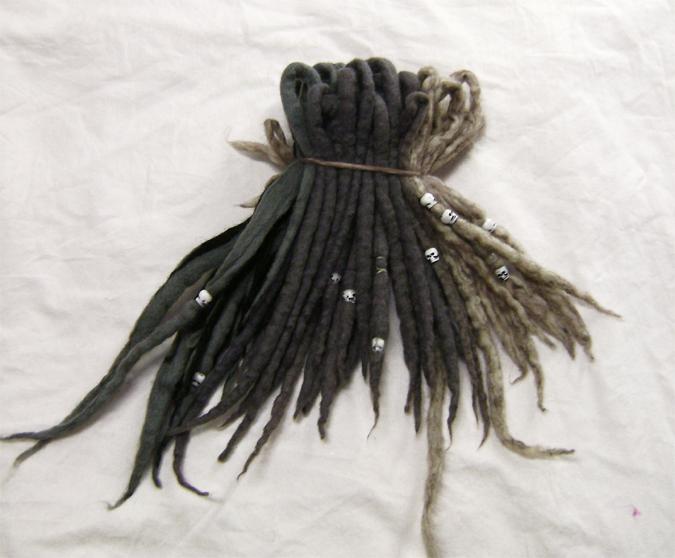 set of wool dreads spikey grey blond blk