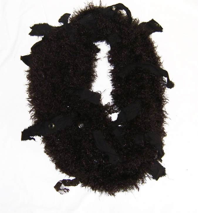 tatter cowl loop scarf brwn fur