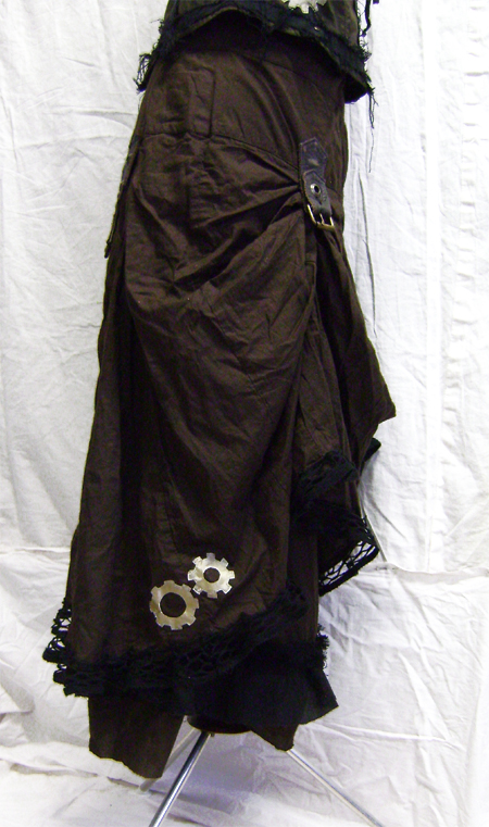 steampunk bustle skirt side on